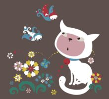 Cute White Kitty with Birds T-Shirt