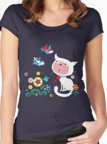 Cute White Kitty with Birds Women's Fitted Scoop T-Shirt