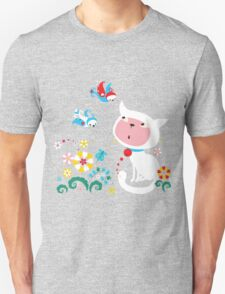 Cute White Kitty with Birds Unisex T-Shirt