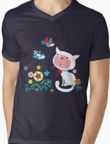 Cute White Kitty with Birds Mens V-Neck T-Shirt