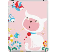 Cute White Kitty with Birds iPad Case/Skin