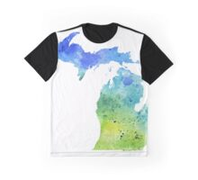 Watercolor Map of Michigan, USA in Blue and Green - Giclee Print of My Own Watercolor Painting Graphic T-Shirt