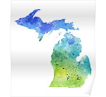 Watercolor Map of Michigan, USA in Blue and Green - Giclee Print of My Own Watercolor Painting Poster