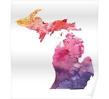 Watercolor Map of Michigan, USA in Orange, Red and Purple - Giclee Print of my Own Painting Poster