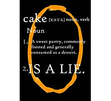 Cake Is a Lie (Orange Portal) Photographic Print