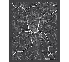 Cincinnati Map, USA - Gray Photographic Print