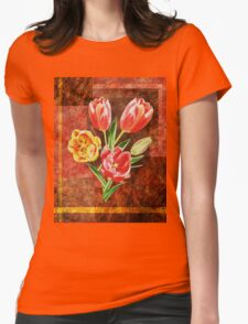 Decorative Tulip Bouquet Womens Fitted T-Shirt