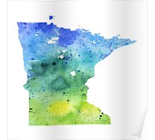 Watercolor Map of Minnesota, USA in Blue and Green - Giclee Print of My Own Watercolor Painting Poster