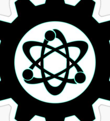 Technomage Industries Steampunk Cog - neon teal outline Sticker