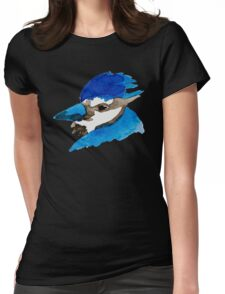 Blue Jay Watercolor Womens Fitted T-Shirt