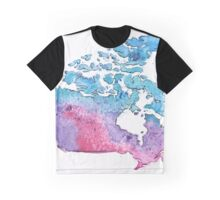 Hand Painted Watercolor Map of Canada in pink, blue and purple - Giclee Print of My Own Painting Graphic T-Shirt