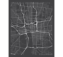 Columbus Map, USA - Gray Photographic Print