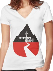 SLEEPING WITH SIRENS LOGO Women's Fitted V-Neck T-Shirt