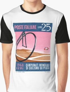1968 Italy Bicyle Velodrome Postage Stamp Graphic T-Shirt