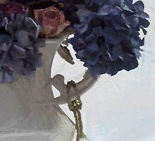 Blue Hydrangeas - Digital Gouache by Sandra Foster
