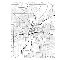 Dayton Map, USA - Black and White Photographic Print