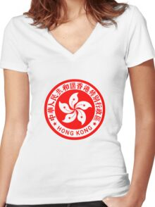 Emblem of Hong Kong Women's Fitted V-Neck T-Shirt