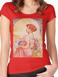 Alphonse Mucha - Etesummer Women's Fitted Scoop T-Shirt