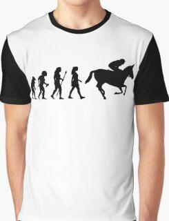 Funny Female Jockey Evolve Silhouette Graphic T-Shirt