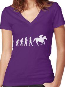 Funny Women's Horse Racing Jockey Evolution Silhouette Women's Fitted V-Neck T-Shirt