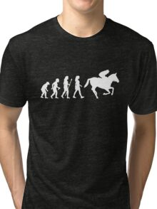 Funny Women's Horse Racing Jockey Evolution Silhouette Tri-blend T-Shirt