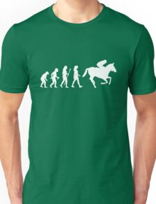 Funny Women's Horse Racing Jockey Evolution Silhouette Unisex T-Shirt