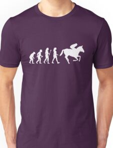 Funny Women's Horse Racing Jockey Evolution Silhouette Unisex T-Shirt