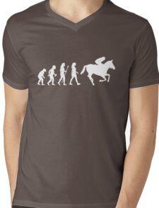 Funny Women's Horse Racing Jockey Evolution Silhouette Mens V-Neck T-Shirt