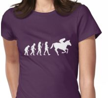 Funny Women's Horse Racing Jockey Evolution Silhouette Womens Fitted T-Shirt