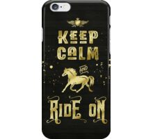 Keep Calm and Ride On Gold Horse Typography iPhone Case/Skin