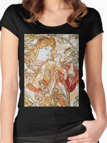 Alphonse Mucha - Femme La Margueritewoman With Daisy Women's Fitted Scoop T-Shirt