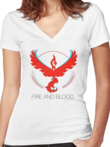 Team Valor - Fire and Blood Women's Fitted V-Neck T-Shirt