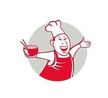 Asian Chef Serving Noodle Bowl Dancing Circle Cartoon Photographic Print