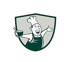 Asian Chef Serving Noodle Bowl Dancing Crest Cartoon Photographic Print