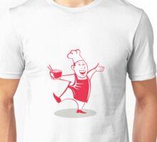 Asian Chef Serving Noodle Bowl Dancing Cartoon Unisex T-Shirt