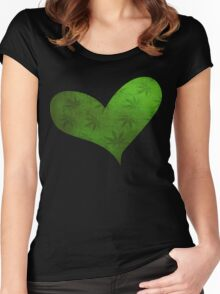 Marijuana Leaf Heart Women's Fitted Scoop T-Shirt