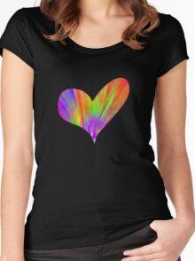 Cool Tie-Dye Heart Women's Fitted Scoop T-Shirt