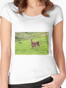 Mother and Baby Deer Women's Fitted Scoop T-Shirt