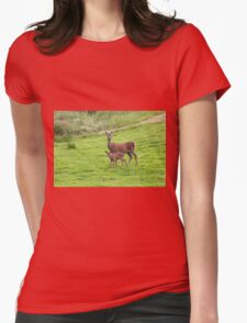 Mother and Baby Deer Womens Fitted T-Shirt