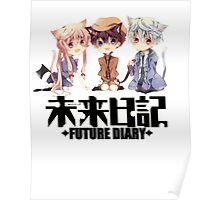 chibi future diary with black text Poster
