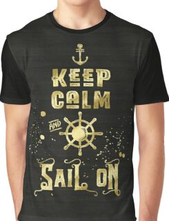 Keep Calm and Sail On Gold Helm Anchor Typography Graphic T-Shirt