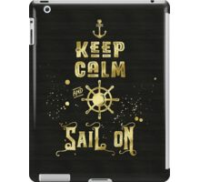 Keep Calm and Sail On Gold Helm Anchor Typography iPad Case/Skin