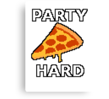 Party Hard Pizza Pixel Art Canvas Print