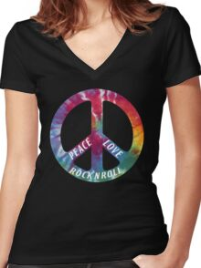 Peace, Love, Rock N' Roll Women's Fitted V-Neck T-Shirt