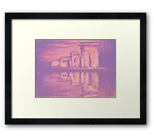 Temple of Debod, Madrid, reflected in the water, colorful drawing illustration. Framed Print