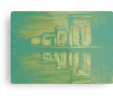 Temple of Debod, Madrid, reflected in the water, colorful drawing illustration. Metal Print