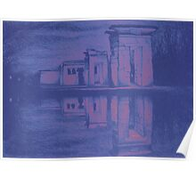 Temple of Debod, Madrid, reflected in the water, colorful drawing illustration. Poster