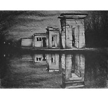 Temple of Debod, Madrid, reflected in the water, drawing illustration. Photographic Print