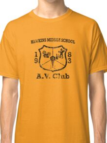 Hawkins Middle School AV Club - Black Weathered Classic T-Shirt