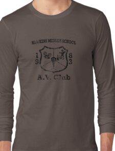 Hawkins Middle School AV Club - Black Weathered Long Sleeve T-Shirt